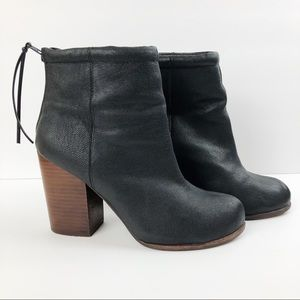 Jeffrey Campbell Black Leather Rumble Ankle Boot